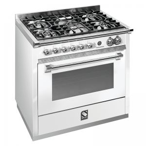 Steel 90cm Upright Cooker In White