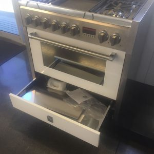 Genesi 90cm Cooker In White (Ex-Display) - Push Pull Slide Out Drawer