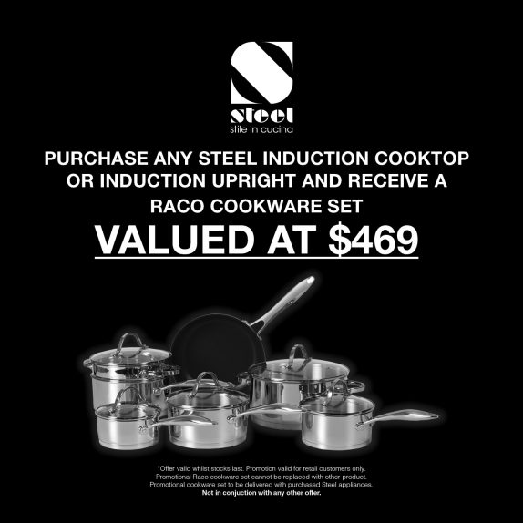 Free Raco Cookware set on purchase of any steel induction cooktop or cooker